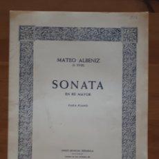 Libros de segunda mano: PARTITURA SONATA EN RE MAYOR PARA PIANO. M. ALBÉNIZ. Lote 198945912