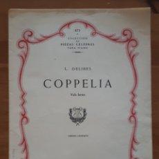 Libros de segunda mano: PARTITURA COPPELIA. VALS LENTO. L. DELIBES.. Lote 198952013