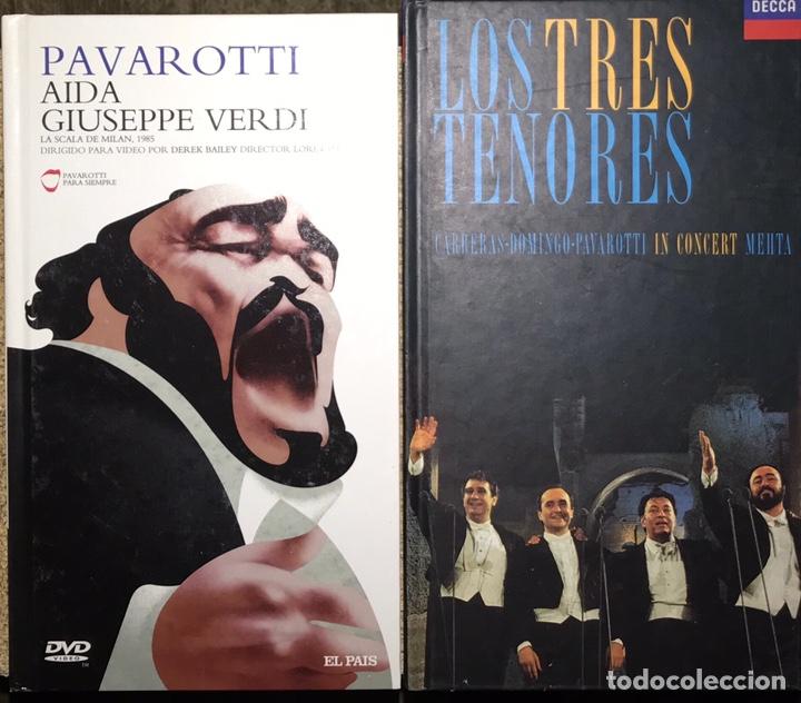 LOTE PACK 2 LIBROS PAVAROTTI AIDA GIUSEPPE VERDI. SCALA DE MILAN 1985 LOS TRES TENORES (Libros de Segunda Mano - Bellas artes, ocio y coleccionismo - Música)