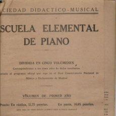 Libros de segunda mano: ESCUELA ELEMENTAL DE PIANO. SOCIEDAD DIDACTICO - MUSICAL. DOS VOLUMENES. MADRID, 1941. (T/19). Lote 246294635