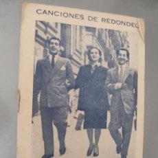 Libros de segunda mano: CANCIONES DE REDONDEL – JUANITO VALDERRAMA MARI ROSA ANTONIO CASAL 8P 15X11. Lote 248245340