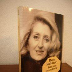 Libros de segunda mano: ROSA SABATER: SONATA INACABADA (PAGÈS EDITORS, 2017) MIQUEL JORBA. PERFECTE ESTAT. DEDICATÒRIA AUTOR. Lote 263173580