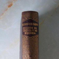 Libros de segunda mano: HIPPOLYTE TAINE.ENSAYOS DE CRÍTICA Y DE HISTORIA.AGUILAR COL. JOYAS.1° EDICIÓN. Lote 27386203