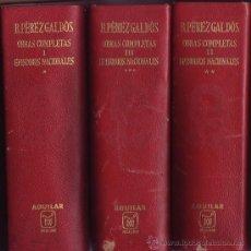 Libros de segunda mano: OBRAS COMPLETAS ( TRES TOMOS) TOMO I, II Y III: EPISODIOS NACIONALES. BENITO PÉREZ GALDÓS. . Lote 26582288