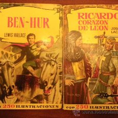 Libros de segunda mano: ED. BRUGUERA. COLECCIÓN HISTORIAS. Nº 9, BEN HUR (1962) Y Nº 148 RICARDO CORAZÓN DE LEÓN (1961). Lote 29732089
