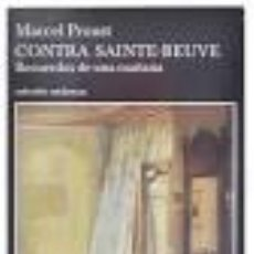 Libros de segunda mano: CONTRA SAINTE-BEUVE MARCEL PROUST. Lote 102765127
