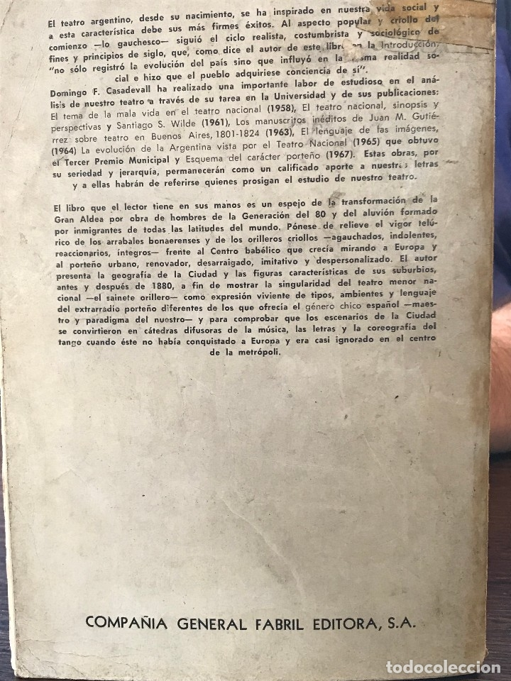 Libros de segunda mano: Libro Buenos Aires, arrabal, sainete, tango año 1968 - Foto 2 - 150492926