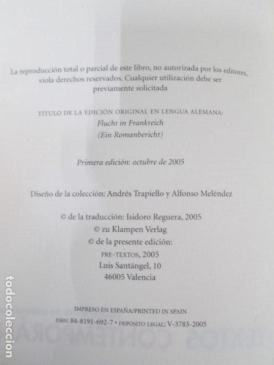 Libros de segunda mano: SOMA MORGENSTERN. HUIDA EN FRANCIA. UN RELATO NOVELADO. EDICION PRE-TEXTOS. 2005 - Foto 9 - 167911500