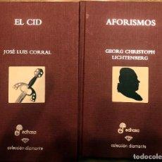 Libros de segunda mano: EL CID/ AFORISMOS. COLECCION DIAMANTE EDHASA.. Lote 190500336