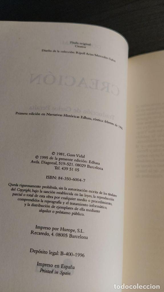 Libros de segunda mano: CREACION. GORE VIDAL Ed. Edhasa - Foto 3 - 194880318