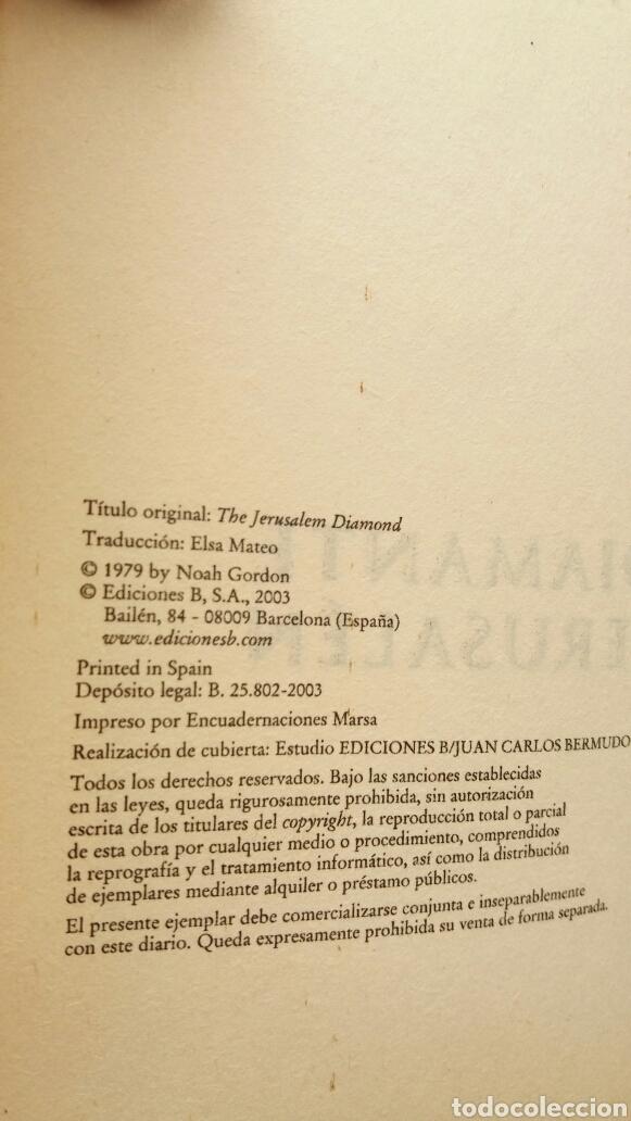 Libros de segunda mano: El diamante de Jerusalén. Noah Gordon. Ediciones B, biblioteca Noah Gordon, 2003. - Foto 6 - 205351430