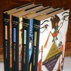 Libros de segunda mano: TETRALOGÍA LA PIEDRA DE LUZ 4T POR CHRISTIAN JACQ DE CÍRCULO DE LECTORES EN BARCELONA 2000. Lote 220661870