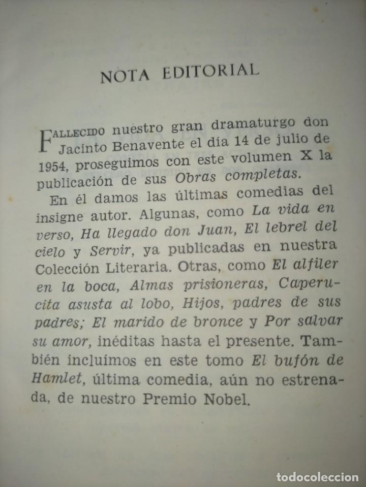 Libros de segunda mano: OBRAS COMPLETAS --- JACINTO BENAVENTE, TOMO X --- AGUILAR 1956 --- - Foto 6 - 237003310