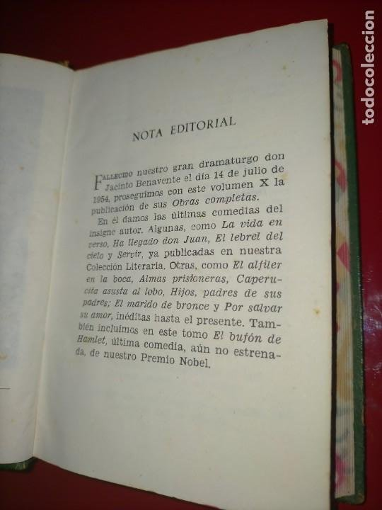 Libros de segunda mano: OBRAS COMPLETAS --- JACINTO BENAVENTE, TOMO X --- AGUILAR 1956 --- - Foto 8 - 237003310