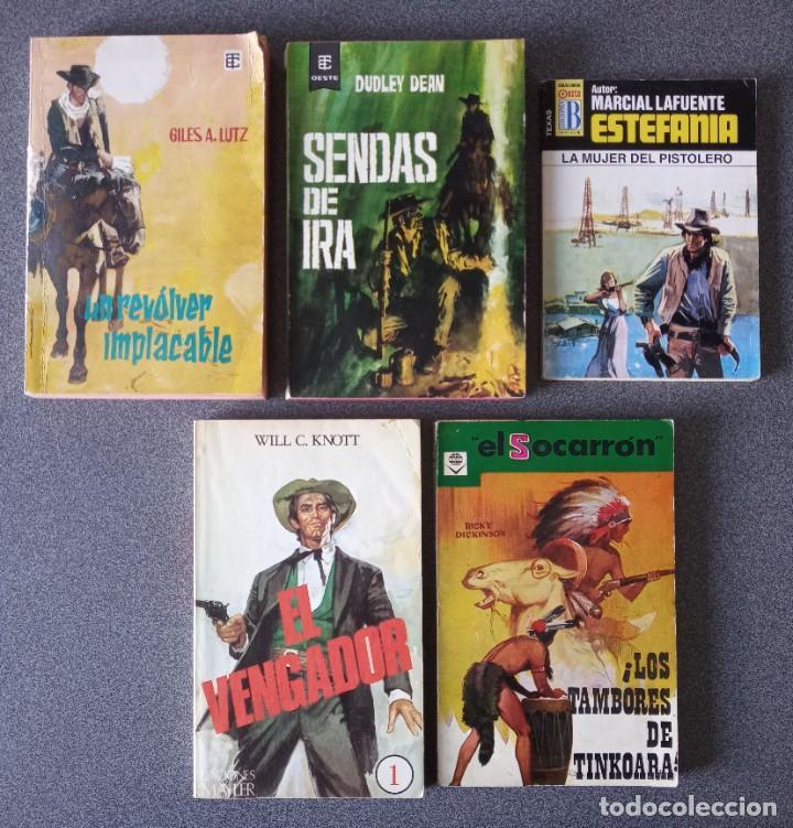 LOTE NOVELAS OESTE UN REVOLVER IMPACABLE SENDAS DE IRA ESTEFANIA EL VENGADOR EL SOCARRÓN (Libros de Segunda Mano (posteriores a 1936) - Literatura - Narrativa - Novela Histórica)