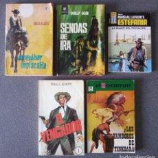 Libros de segunda mano: LOTE NOVELAS OESTE UN REVOLVER IMPACABLE SENDAS DE IRA ESTEFANIA EL VENGADOR EL SOCARRÓN. Lote 260051200