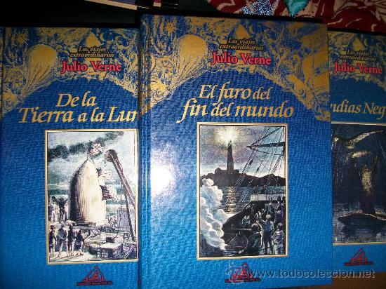 LOTE 3 LIBROS LOS VIAJES EXTRAORDINARIOS JULIO VERNE - TAPA DURA - EL FARO DEL FIN DEL MUNDO, ... (Libros de Segunda Mano - Literatura Infantil y Juvenil - Novela)