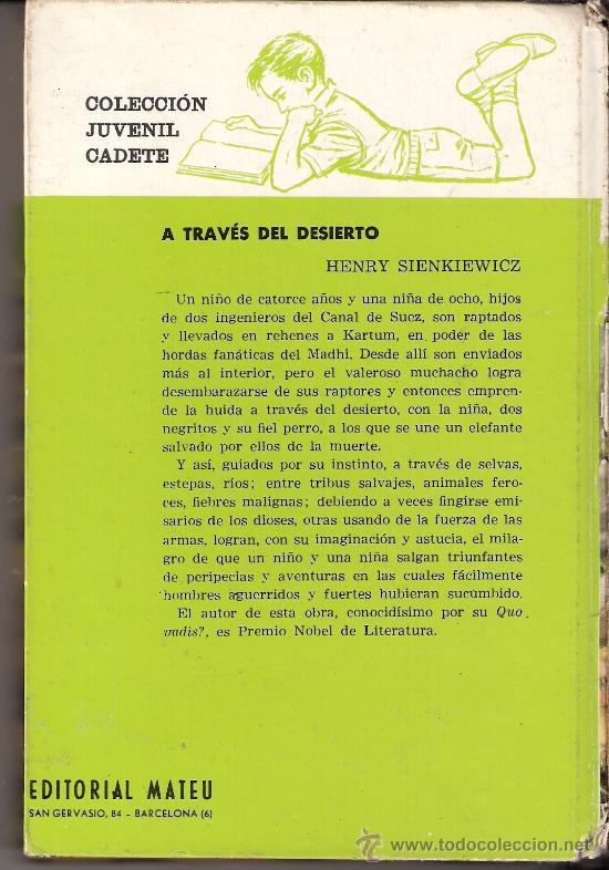 Libros de segunda mano: A través del desierto. Hanry Sienkiewicz. Colección Juvenil Cadete. Editorial Mateu. 1ª edición 1963 - Foto 2 - 28518231
