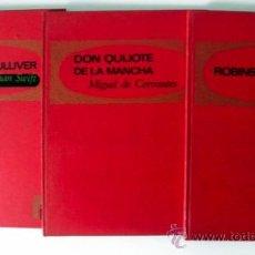Libros de segunda mano: LOTE DE TRES LIBROS ILUSTRADOS * PALMA DE ORO * DON QUIJOTE * ROBINSON CRUSOE * VIAJES DE GULLIVER. Lote 38785760
