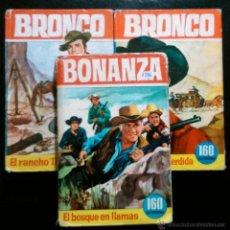 Libros de segunda mano: 3 LIBROS DE BRONCO Y BONANZA: LA DILIGENCIA PERDIDA,EL RANCHO DOBLE C,EL BOSQUE EN LLAMAS - HÉROES. Lote 41424764