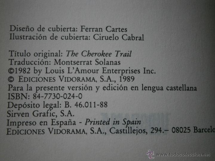 Libros de segunda mano: ESTACION CHEROKEE LOUIS LAMOUR VIDORAMA 1989 - Foto 7 - 42334794