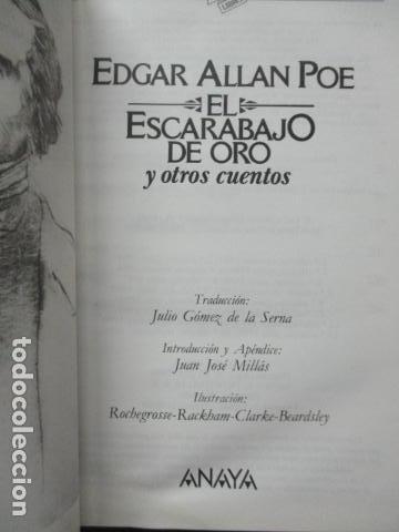 Libros de segunda mano: El escarabajo de oro y otros cuentos, Edgar Allan Poe, Tus libros Anaya - Foto 5 - 241154840