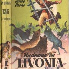 Libros de segunda mano: JULIO VERNE : UN DRAMA EN LIVONIA (JUVENIL CADETE, C. 1960). Lote 94593767