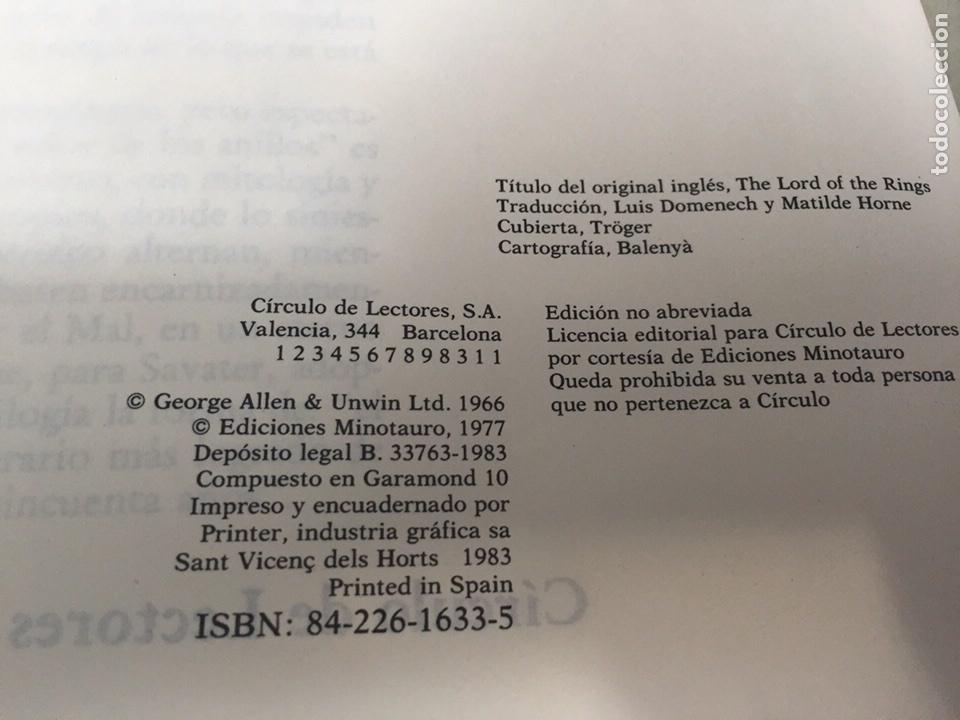 Libros de segunda mano: EL SEÑOR DE LOS ANILLOS-JJR TOLKIEN. ORIGINAL CÍRCULO DE LECTORES 1983 - Foto 5 - 109159116