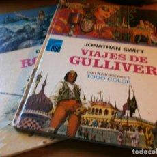 Libros de segunda mano: ROBINSON CRUSOE Y VIAJES DE GULLIVER - COLECCIÓN PALMA DE ORO Nº 4, 5 - EDT. BRUGUERA, 1974.. Lote 143027974