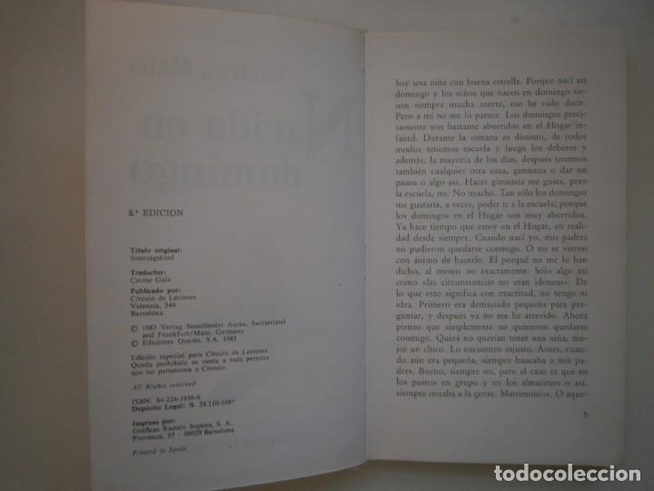 Libros de segunda mano: NACIDA EN DOMINGO Gudrun Mebs Circulo de Lectores 1987 - Foto 10 - 146137446