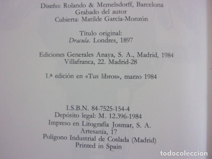 Libros de segunda mano: DRACULA / Bram Stoker / 1ª edición 1984. Anaya Tus Libros - Foto 3 - 155046918