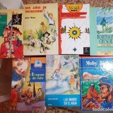 Libros de segunda mano: LOTE 7 LIBROS BIBLIOTECA JUVENIL - ROBINSON CRUSOE - UNA DE PIRATAS - MOBY DICK - REGRESO DEL INDIO. Lote 183303921