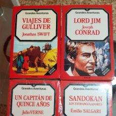 Libros de segunda mano: LOTE 4 LIBROS GRANDES AVENTURAS FORUM - SANDOKAN - GULLIVER - CAPITÁN DE 15 AÑOS - LORD JIM. Lote 183305237