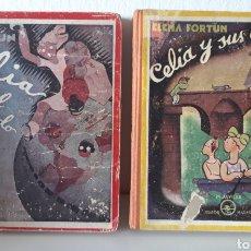 Libros de segunda mano: ELENA FORTÚN. CELIA EN EL MUNDO Y CELIA Y SUS AMIGOS. ED. AGUILAR 1943. DE REGALO, ANY ES FANTÁSTICA. Lote 194914446