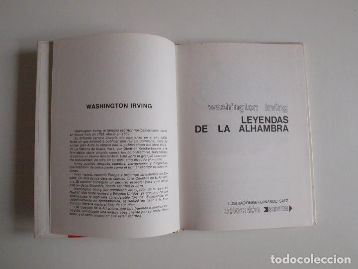 Libros de segunda mano: LEYENDAS DE LA ALHAMBRA - WASHINGTON - COLECCIÓN SAETA (Nº 30) - EDICIONES SUSAETA 1975 - Foto 3 - 203261473