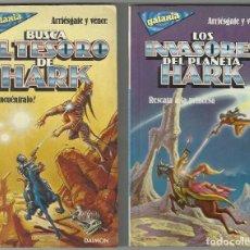 Libros de segunda mano: LOTE 2 LIBROS COLE GALAXIA RL STINE LOS INVASORES DEL PLANETA HARK BUSCA EL TESORO - DAIMON 1986. Lote 219243707