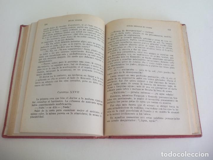 Libros de segunda mano: CINCO SEMANAS EN GLOBO. JULIO VERNE. 1958. COLECCIÓN ROBINSONES Nº 37. EDITORIAL MIGUEL ARIMANY - Foto 2 - 222731531