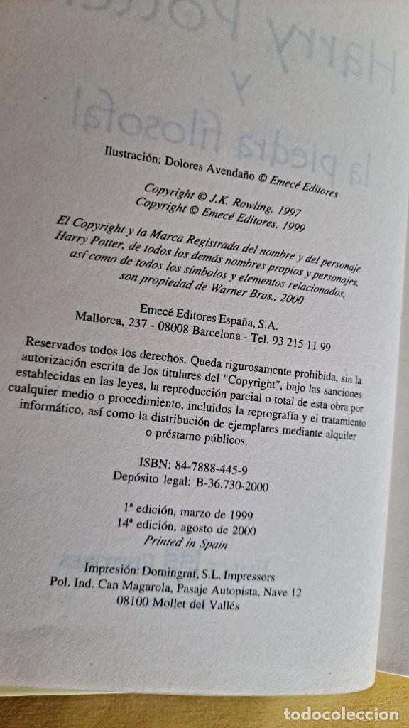 Libros de segunda mano: J.K.ROWLING - HARRY POTTER Y LA PIEDRA FILOSOFAL - EDICIONES EMECE 2000 - Foto 3 - 245238170