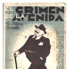 Libros de segunda mano: LETRAS 20: EL CRIMEN DE LA AVENIDA, 1939, BUEN ESTADO. COLECCIÓN A.T.. Lote 289927783