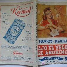 Livres d'occasion: LA NOVELA ROSA - Nº 21: BAJO EL VELO DEL ANONIMO -CON PUBLICIDAD CONTRAPORTADA TALCO KAMEL, VER FOTO. Lote 18937387
