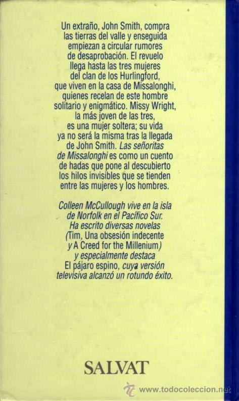 Libros de segunda mano: LAS SEÑORITAS DE MISSALONGHI - COLLEEN MCCULLOUGH - GRANDES ESCRITORAS Nº 60 - SALVAT - Foto 2 - 28318792