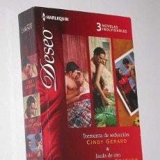 Libros de segunda mano: TORMENTA DE SEDUCCIÓN / JAULA DE ORO / UN MATRIMONIO CONVENIENTE. 3 NOVELAS DESEO HARLEQUIN, 2012. Lote 49782298