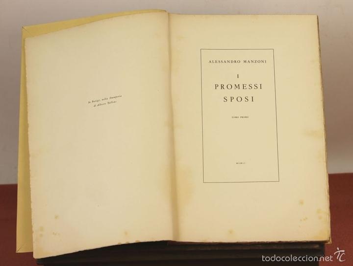 Libros de segunda mano: 7760 - I PROMESSI SPOSI. A. MANZONI. TOMOS I, II Y III(VER DESCRIP). IMP. A. TALLONE. 1951/52. - Foto 3 - 57965859
