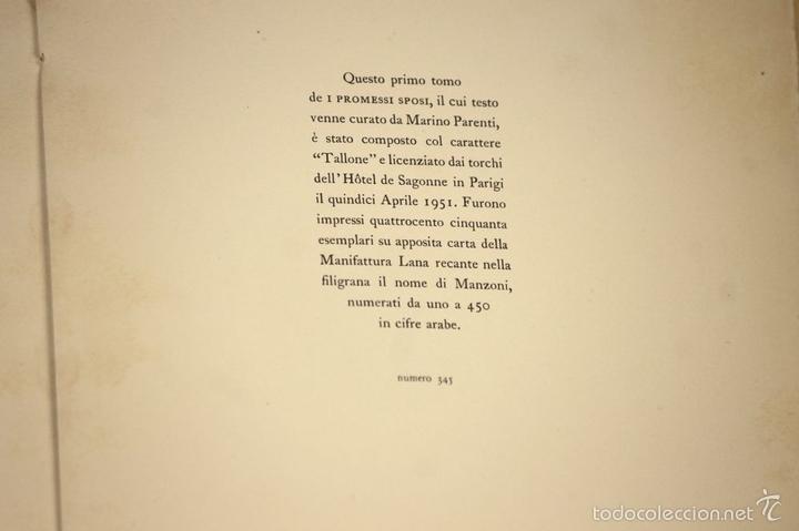 Libros de segunda mano: 7760 - I PROMESSI SPOSI. A. MANZONI. TOMOS I, II Y III(VER DESCRIP). IMP. A. TALLONE. 1951/52. - Foto 5 - 57965859