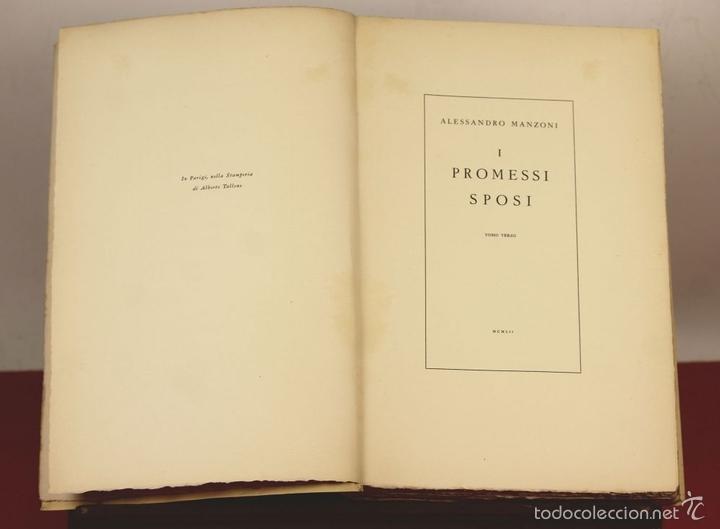 Libros de segunda mano: 7760 - I PROMESSI SPOSI. A. MANZONI. TOMOS I, II Y III(VER DESCRIP). IMP. A. TALLONE. 1951/52. - Foto 9 - 57965859