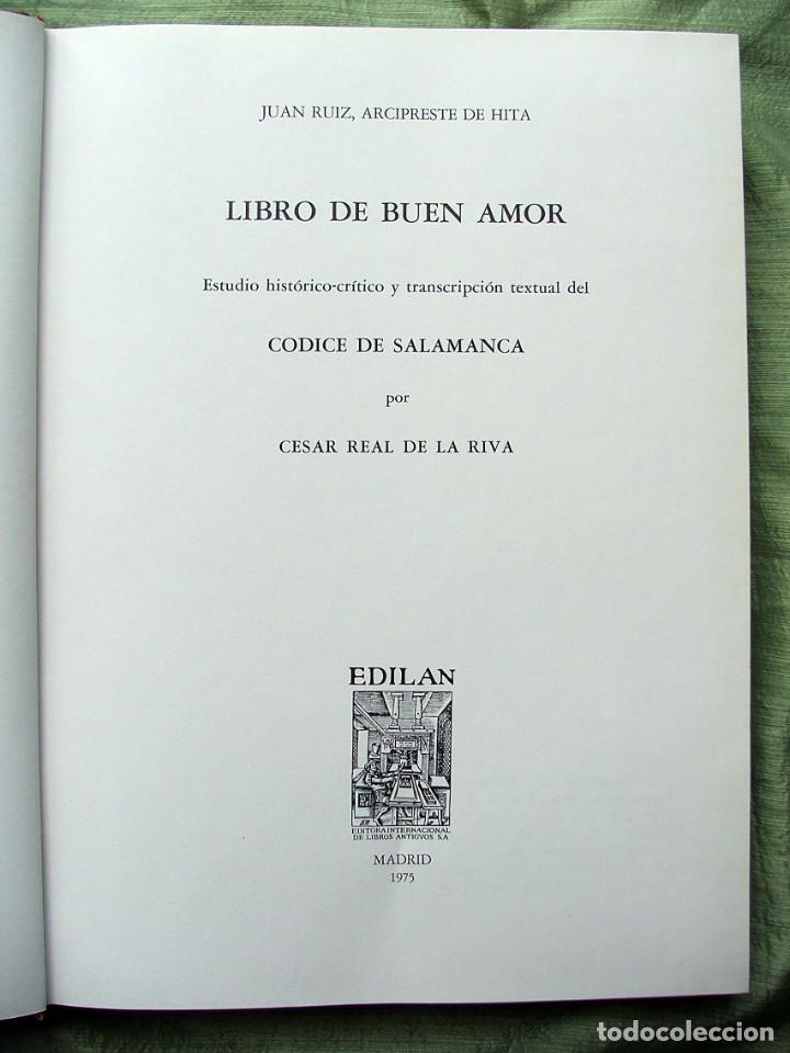 Libros de segunda mano: LIBRO DE BUEN AMOR.EDICIÓN FACSÍMIL DEL CÓDICE DE SALAMANCA .-JUAN RUIZ,ARCIPRESTE DE HITA - Foto 15 - 139584378