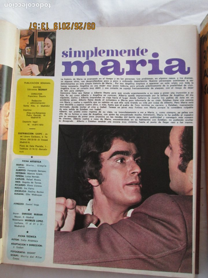 Libros de segunda mano: FOTONOVELA SIMPLEMENTE MARÍA COMPLETA 81 NÚMEROS. 3 TOMOS. AÑOS 70. - Foto 6 - 177815260