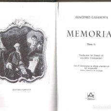Libros de segunda mano: MEMORIAS II, GIACOMO CASANOVA, CON 27 ILUSTRACIONES, AGUILAR 1982, 842 PAG. PIEL. Lote 208340888