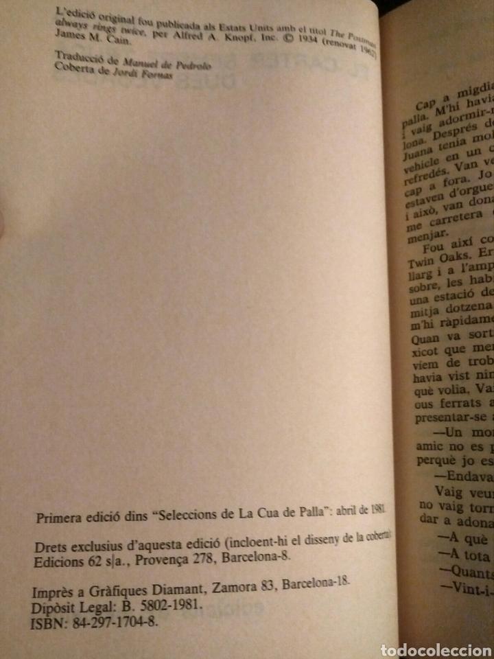 Libros de segunda mano: El carter sempre truca dues vegades (català) - James M. Cain, Ed. 62, 1981 - Foto 2 - 208700102