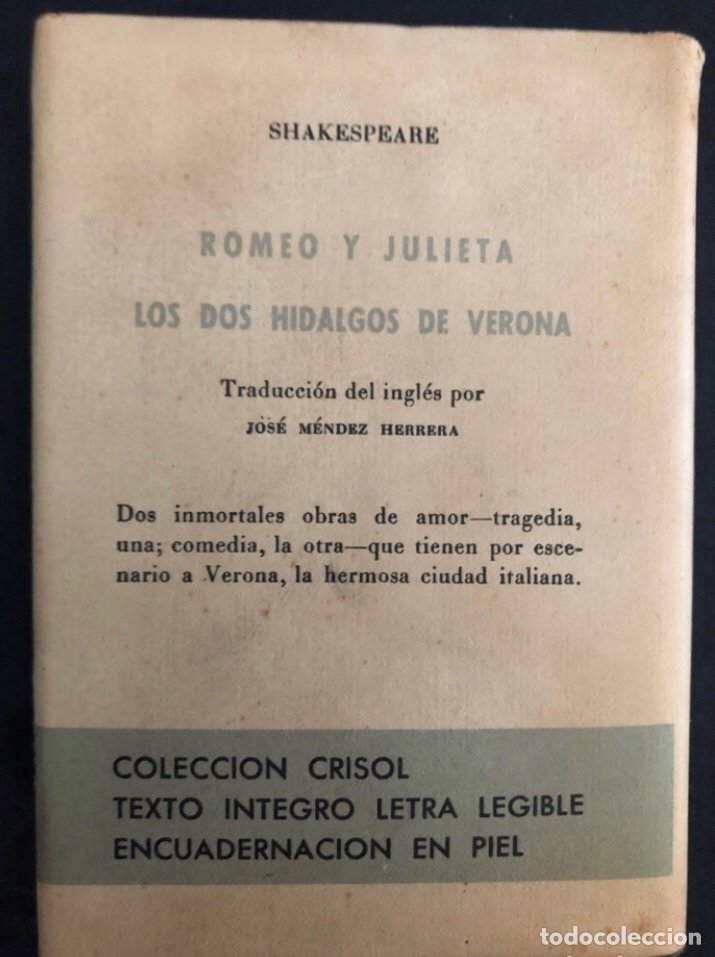 Libros de segunda mano: COLECCIÓN CRISOL N°85 bis. ROMEO Y JULIETA, LOS DOS HIDALGOS DE VERONA. SHAKESPEARE. AGUILAR (1964) - Foto 8 - 267171929